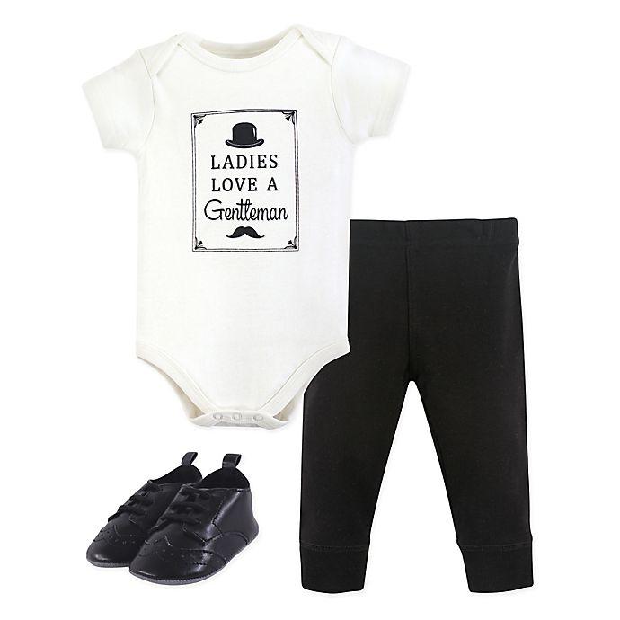 Alternate image 1 for Hudson Baby® Size 6-9M 3-Piece Gentlemen Bodysuit, Pants & Shoes Set in Black