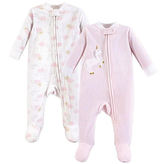 Alternate image 1 for Yoga Sprout 2-Pack Fleece Sleep N Play Unicorn Footie Pajamas in Pink
