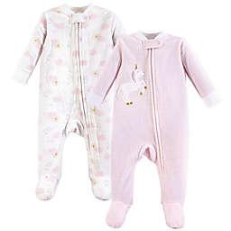 Yoga Sprout 2-Pack Fleece Sleep N Play Unicorn Footie Pajamas in Pink