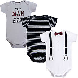 Little Treasures 3-Pack Man of My Dreams Bodysuits in Black