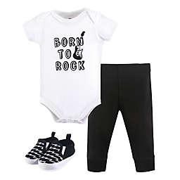 Little Treasures Size 3-6M 3-Piece Born to Rock Bodysuit, Pants & Shoes Set in Black