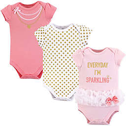 Little Treasures 3-Pack Sparkling Bodysuits in Pink