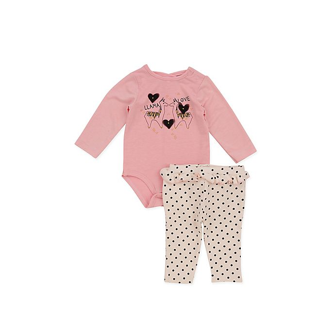 ba7400805d69 Jessica Simpson Size 3-6M 2-Piece Llama Bodysuit and Legging Set in Pink
