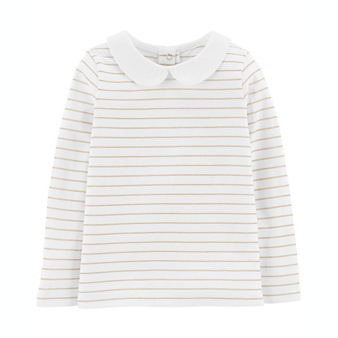Alternate image 1 for OshKosh B'gosh® Size 2T Lurex Stripe Top in Ivory