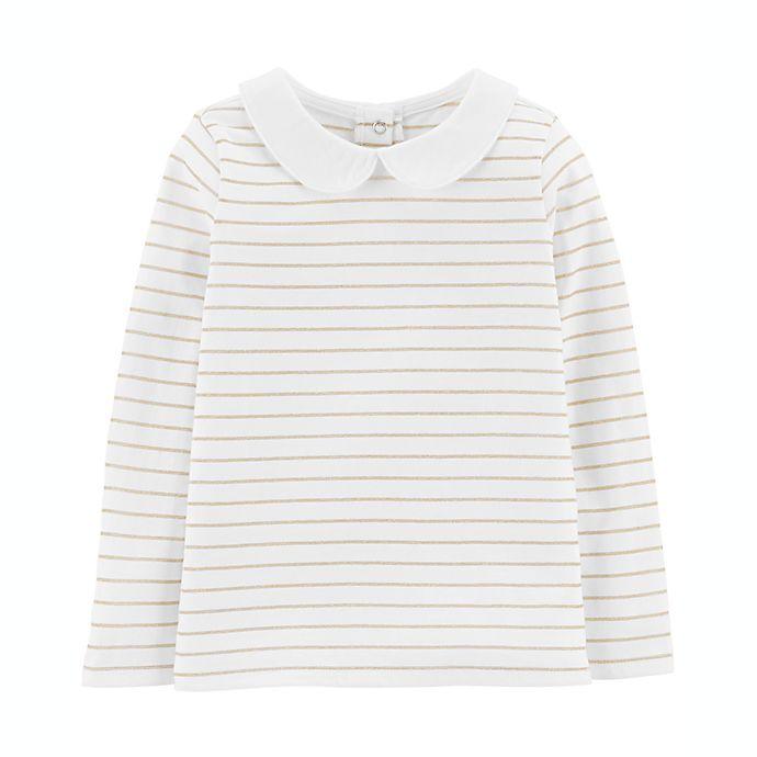Alternate image 1 for OshKosh B'gosh® Size 3T Lurex Stripe Top in Ivory