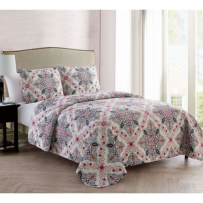 Alternate image 1 for VCNY Home Wyndham Medallion Reversible Quilt Set