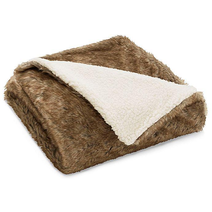 Alternate image 1 for Eddie Bauer® Summit Faux Fur Throw Blanket in Brown