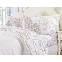 Great Bay Home Floral Toile Flannel Sheet Set