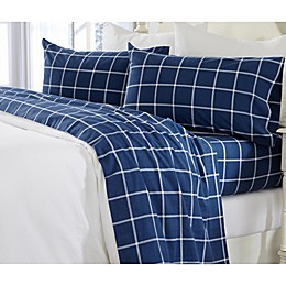 Great Bay Home Grid Print Flannel Sheet Set in Navy/White