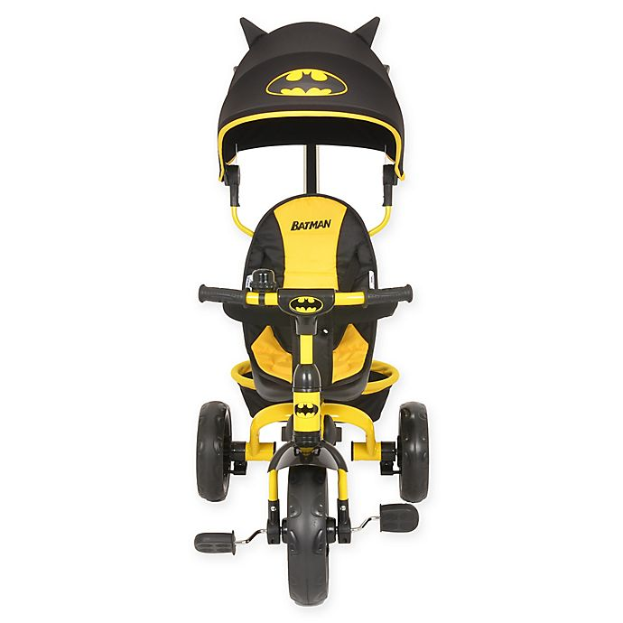 Alternate image 1 for KidsEmbrace® Batman 4-in-1 Push and Ride Stroller Tricycle in Black/Yellow
