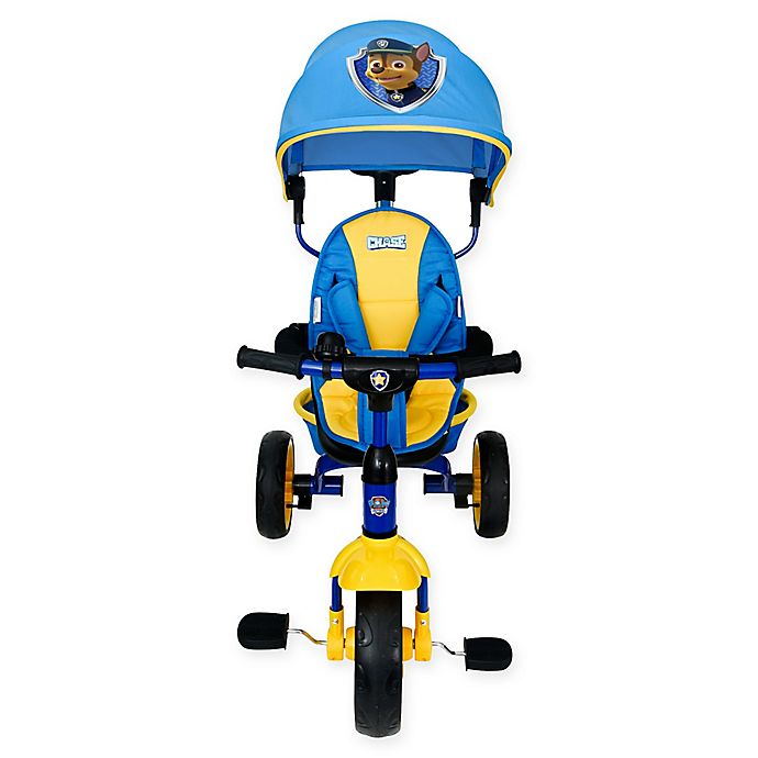 Alternate image 1 for KidsEmbrace® PAW Patrol Chase 4-in-1 Push and Ride Stroller Tricycle in Blue/Yellow