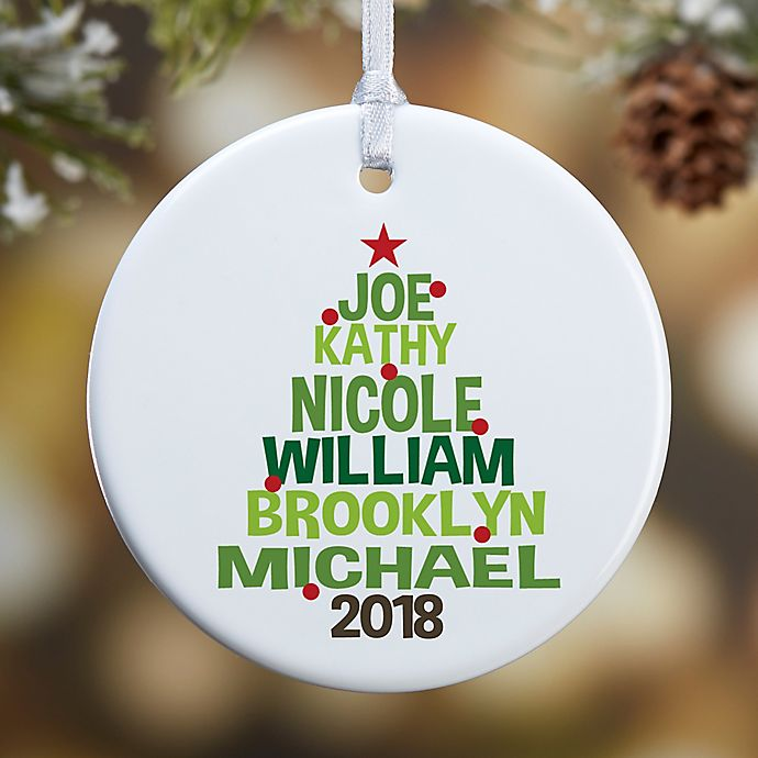 Alternate image 1 for Christmas Family Tree Personalized 1-Sided Matte Christmas Ornament