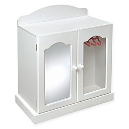 Badger Basket Mirrored Doll Armoire in White/Pink
