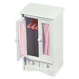 Badger Basket Doll Armoire in White/Pink
