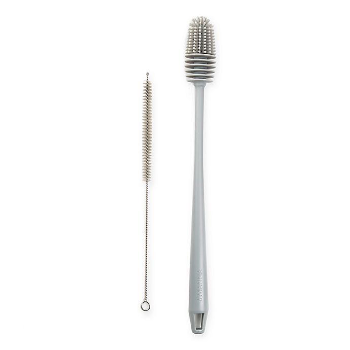 Alternate image 1 for Manna™ 2-Piece Bottle Brush with Straw Brush Set in Grey