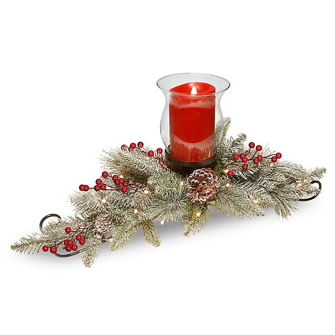 Alternate image 1 for National Tree Company® 30-Inch Snowy Bristle Berry Candle Centerpiece