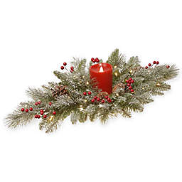 National Tree Company® 32-Inch Snowy Bristle Berry Candle Centerpiece