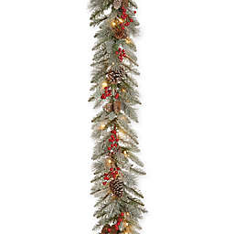 National Tree Company® 9-Foot Snowy Bristle Berry Garland with Clear Lights