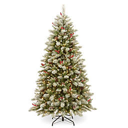 National Tree Company® 7.5-Foot Snowy Bristle Berry Christmas Tree with Clear Lights