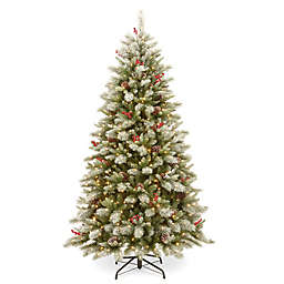 National Tree Company® 7.5-Foot Snowy Bristle Berry Christmas Tree with Dual Color Lights