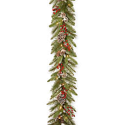 National Tree Company® 9-Foot Bristle Berry Garland with Clear Lights