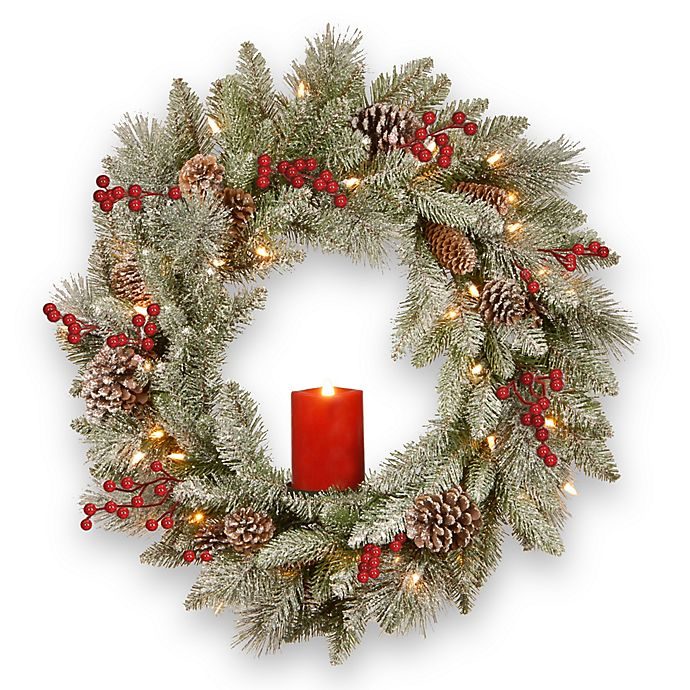 Alternate image 1 for National Tree Company® 24-Inch Snowy Bristle Berry Wreath with Battery-Operated Candle