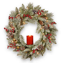 National Tree Company® 24-Inch Snowy Bristle Berry Wreath with Battery-Operated Candle