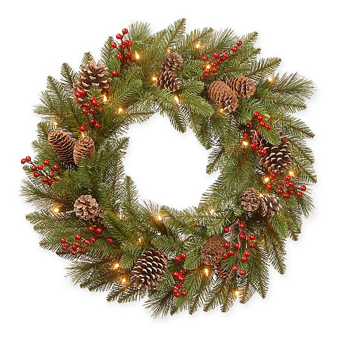 Alternate image 1 for National Tree Company® 24-Inch Bristle Berry Wreath with Warm White Lights