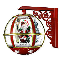 Fraser Hill Farm 16-Inch Wall-Mount Musical Snow Globe with Santa and Snow Function in Red