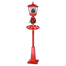 Fraser Hill Farm 5.9-Foot Musical Lantern Lamp Post with Christmas Tree and Snow in Red