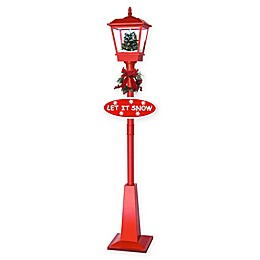 Fraser Hill Farm 18-Inch Wall-Mount Musical Lantern with Christmas Tree and Snow in Red