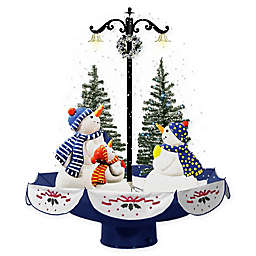 Fraser Hill Farm 2.4-Foot Musical Snowman Family Scene Decoration with Umbrella Base and Snow