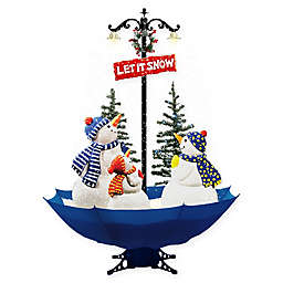 Fraser Hill Farm 5.5-Foot Musical Snowman Family Scene Decoration with Umbrella Base and Snow