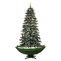 Fraser Hill Farm 67-Inch Snowing Artificial Christmas Tree with Green Base