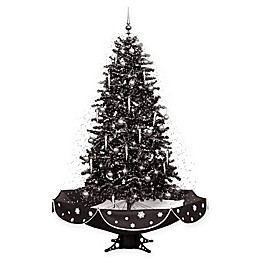 Fraser Hill Farm 75-Inch Snowing Artificial Christmas Tree with Black Base
