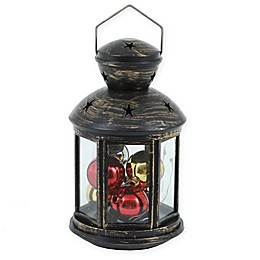8.1-Inch Lantern with LED Ornamentsand String Lights in Black