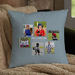 For Him 6-Photo Collage Personalized 14-Inch Square Throw Pillow