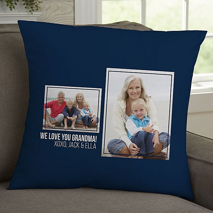 Alternate image 1 for For Her 2-Photo Collage Personalized 18-Inch Square Throw Pillow