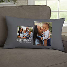 For Her 2-Photo Collage Personalized Lumbar Throw Pillow