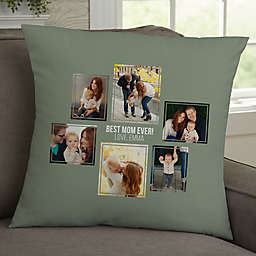 For Her 6-Photo Collage Personalized 18-Inch Square Throw Pillow