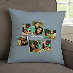 For Her 6-Photo Collage Personalized 14-Inch Square Throw Pillow