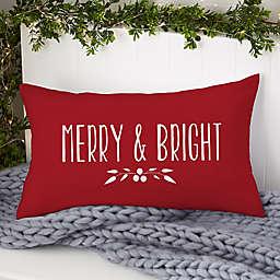 Christmas Wreath Personalized Lumbar Throw Pillow