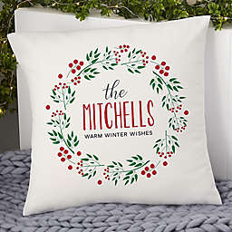 Christmas Wreath Personalized 18-Inch Square Throw Pillow
