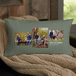 For Him 3-Photo Collage Personalized Lumbar Throw Pillow
