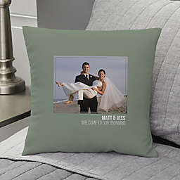 Wedding-Photo Personalized 14-Inch Square Throw Pillow