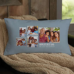 For Him 5-Photo Collage Personalized Lumbar Throw Pillow
