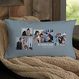 For Him 4-Photo Collage Personalized Lumbar Throw Pillow