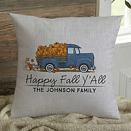 Classic Fall Vintage Truck Personalized 14-Inch Square Throw Pillow