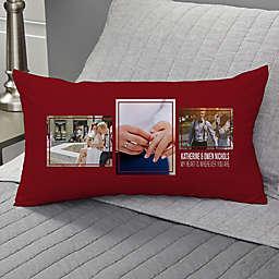 Wedding 3-Photo Collage Personalized Lumbar Throw Pillow