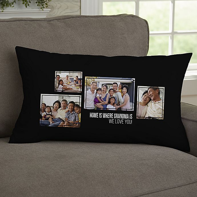 Alternate image 1 for For Her 4-Photo Collage Personalized Lumbar Throw Pillow